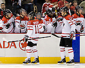 Alex Pietrangelo (Canada - 10), Thomas Hickey (Canada - 4), Zach Boychuk (Canada - 11), Ryan Ellis (Canada - 8), PK Subban (Canada - 5), Keith Aulie (Canada - 32), Willie Desjardins (Canada - Assistant Coach), Colten Teubert (Canada - 2) - Team Canada defeated the Czech Republic 8-1 on the evening of Friday, December 26, 2008, at Scotiabank Place in Kanata (Ottawa), Ontario during the 2009 World Juniors U20 Championship.