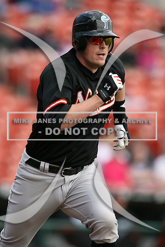 May 9, 2009:  Designated Hitter Matt Wieters of the Norfolk Tides, International League Class-AAA affiliate of the Baltimore Orioles, runs to first during a game at Coca-Cola Field in Buffalo, FL.  Photo by:  Mike Janes/Four Seam Images