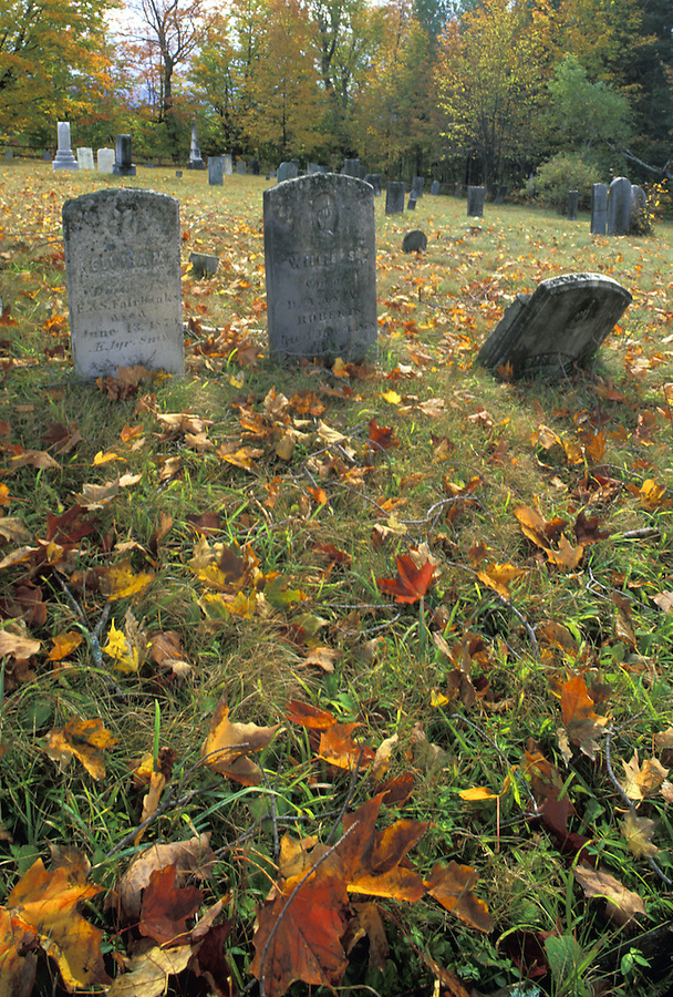 Graves and fallen leaves, Packar Mt Cemetery, near Lyndonville, Vermont
