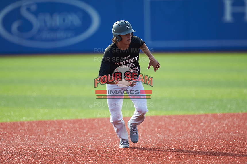 Cooper Allen (61) of Wake Forest High School in Wake Forest, NC takes his lead off of second base during the Atlantic Coast Prospect Showcase hosted by Perfect Game at Truist Point on August 23, 2020 in High Point, NC. (Brian Westerholt/Four Seam Images)