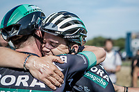 Gregor Mühlberger (AUT/Bora Hansgrohe) congratulated by a teammate after winning the stage. <br /> <br /> Binckbank Tour 2018 (UCI World Tour)<br /> Stage 6: Riemst (BE) - Sittard-Geleen (NL) 182,2km
