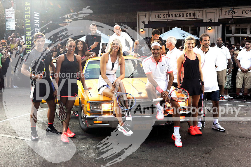 Rafael Nadal, Madison Keys, Serena Williams, Maria Sharapova, Nick Kyrgios, Andre Agassi, Roger Federer, Grigor Dimitrov, John McEnroe, Genie Bouchard and Pete Sampras attending Nike's 'NYC Street Tennis' event on August 24, 2015 in New York City