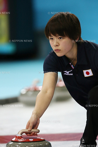 Kaho Onodera (JPN), <br /> FEBRUARY 13, 2014 - Curling : Women's Curling Round Robin match between USA - Japan at &quot;ICE CUBE&quot; Curling Center during the Sochi 2014 Olympic Winter Games in Sochi, Russia.  <br /> (Photo by Koji Aoki/AFLO SPORT)