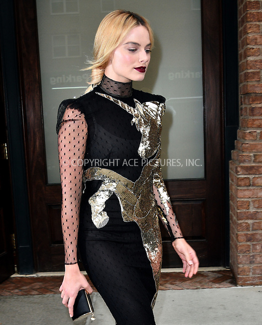 www.acepixs.com<br /> <br /> August 1 2016, New York City<br /> <br /> Actress Margot Robbie leaves a downtown hotel on the way to the premiere of 'Suicide Squad' on August 1 2016 in New York City<br /> <br /> By Line: Curtis Means/ACE Pictures<br /> <br /> <br /> ACE Pictures Inc<br /> Tel: 6467670430<br /> Email: info@acepixs.com<br /> www.acepixs.com