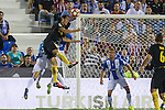 Atletico de Madrid's Diego Godin and Club Deportivo Leganes's Unai Bustinza Gabriel Appelt Pires during the match of La Liga between Club Deportivo Leganes and Atletico de Madrid at Butarque Estadium in Leganes. August 27, 2016. (ALTERPHOTOS/Rodrigo Jimenez)