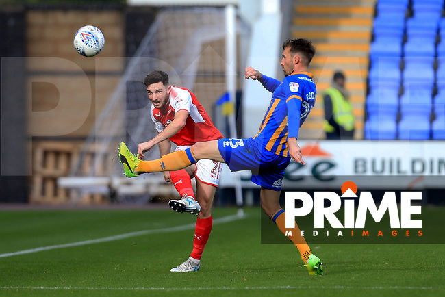 Lewis Coyle of Fleetwood Town wins the ball during the Sky Bet League 1 match between Shrewsbury Town and Fleetwood Town at Greenhous Meadow, Shrewsbury, England on 21 October 2017. Photo by Leila Coker / PRiME Media Images.