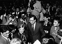 Montreal (QC) CANADA March 3 1985 file photo -<br /> Robert Bourassa and his wife (L) arrive at the Liberal convention