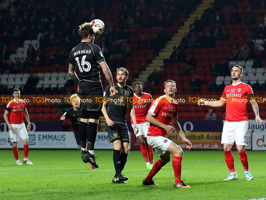 Robbie Muirhead of MK Dons heads the ball into the Charlton goalmouth during Charlton Athletic vs MK Dons, Sky Bet EFL League 1 Football at The Valley on 4th April 2017