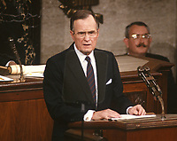 ***FILE PHOTO*** George H.W. Bush Has Passed Away<br /> United States President George H.W. Bush delivers his first State of the Union Address to a Joint Session of Congress in the U.S. Capitol in Washington, D.C. on February 9, 1989.<br /> CAP/MPI/RS<br /> &copy;RS/MPI/Capital Pictures