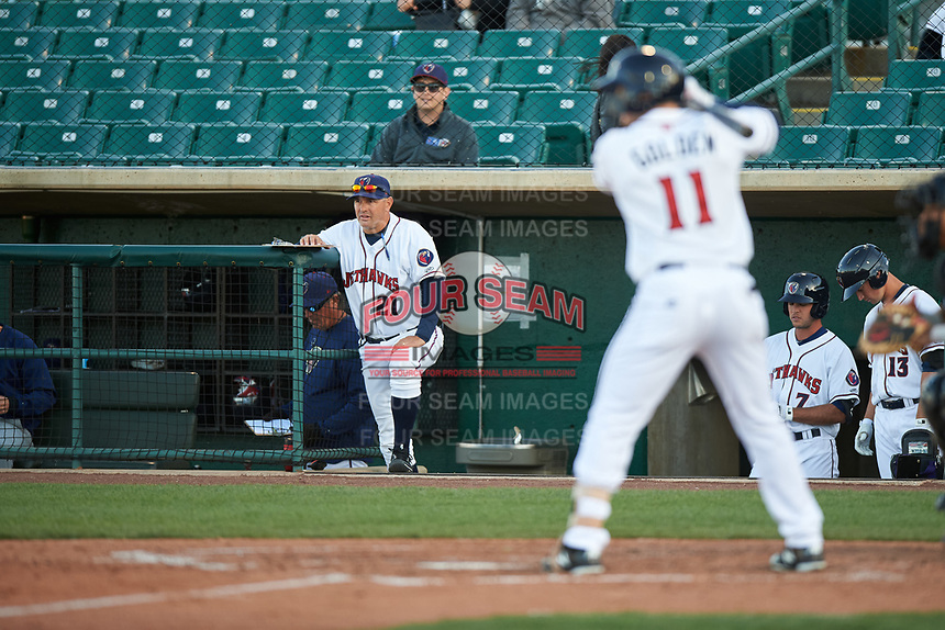 Lancaster JetHawks hitting coach Tom Sutaris (21) during a California League game against the Lake Elsinore Storm on April 10, 2019 at The Hangar in Lancaster, California. Lake Elsinore defeated Lancaster 10-0 in the first game of a doubleheader. (Zachary Lucy/Four Seam Images)
