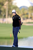 Stephen Gallacher (SCO) waits on the 18th green during Sunday's Final Round of the 2013 Omega Dubai Desert Classic held at the Emirates Golf Club, Dubai, 3rd February 2013..Photo Eoin Clarke/www.golffile.ie
