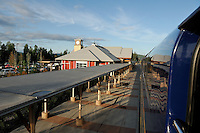 The Alaska Railroad's Denali Star train completes its northbound run as it pulls into the Fairbanks depot at sunset.