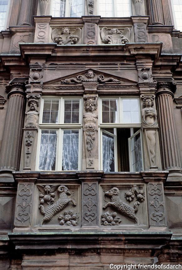 Heidelberg: Knight St. George (Zum Ritter Sankt Georg), 1592. Late Renaissance style, abundantly decorated by ornament on facade.  Street scene. Photo '87
