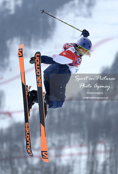 Katie Summerhayes (GBR). Womens Ski Slopestyle - Rosa Khuter Extreme Park - PHOTO: Mandatory by-line: Garry Bowden/SIPPA/Pinnacle - Photo Agency UK Tel: +44(0)1363 881025 - Mobile:0797 1270 681 - VAT Reg No: 768 6958 48 - 110214 - 2014 SOCHI WINTER OLYMPICS - Olympic park, Sochii, Russia