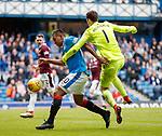 22.04.2018 Rangers v Hearts: Alfredo Morelos runs past keeper Jon McLaughlin but fails to score
