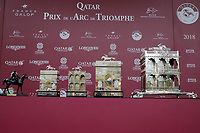 October 07, 2018, Longchamp, FRANCE - Trophies for the Winner of the Qatar Prix de l'Arc de Triomphe (Gr. I) at  ParisLongchamp Race Course  [Copyright (c) Sandra Scherning/Eclipse Sportswire)]