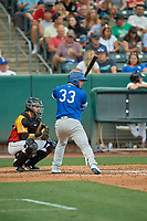 Keibert Ruiz (33) of the Oklahoma City Dodgers at bat in front of catcher Anthony Bemboom (2) during a game against the Salt Lake Bees at Smith's Ballpark on August 1, 2019 in Salt Lake City, Utah. The Bees defeated the Dodgers 14-4. (Stephen Smith/Four Seam Images)