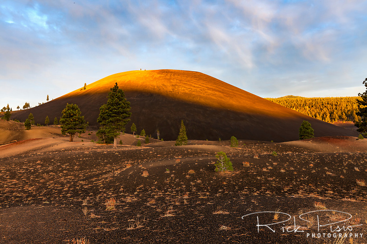 The first light of the day hits the east facing side of Cinder Cone in Lassen Volcanic National Park.