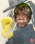 WOODBURY, CT- 02 JUNE 2007- 060207JT01- <br /> Mitchell Elementary first grader Carter Veley, 6, gets a wet sponge thown at his face during a game at the school's annual fun fair in Woodbury on Saturday. The event was sponsored by the PTO.<br /> Josalee Thrift Republican-American