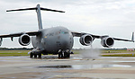 A USAF C-17 Globemaster prepares for takeoff at the Wings Over Houston Air Show Sunday Oct. 22,2006.