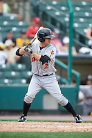 Indianapolis Indians third baseman Max Moroff (2) during a game against the Rochester Red Wings on May 26, 2016 at Frontier Field in Rochester, New York.  Indianapolis defeated Rochester 5-2.  (Mike Janes/Four Seam Images)