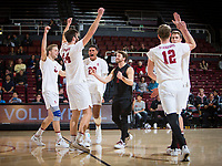 STANFORD, CA - January 17, 2019: Paul Bischoff, Kyler Presho, Jaylen Jasper, Kyle Dagostino, Jordan Ewert, Eric Beatty at Maples Pavilion. The Stanford Cardinal defeated UC Irvine 27-25, 17-25, 25-22, and 27-25.