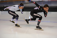 SPEED SKATING: CALGARY: Olympic Oval, 08-03-2015, ISU World Championships Allround, Bart Swings (BEL) en Haralds Silovs (LAT), ©foto Martin de Jong