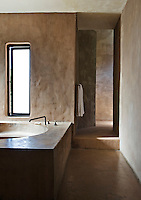 The bathroom has been designed to resemble a traditional Moroccan hammam