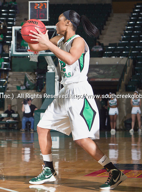North Texas Mean Green guard Desiree Nelson (32) in action during the game between the Louisiana Lafayette Ragin' Cajuns and the University of North Texas Mean Green at the North Texas Coliseum,the Super Pit, in Denton, Texas. UNT defeats Louisiana Lafayette 78 to 40....