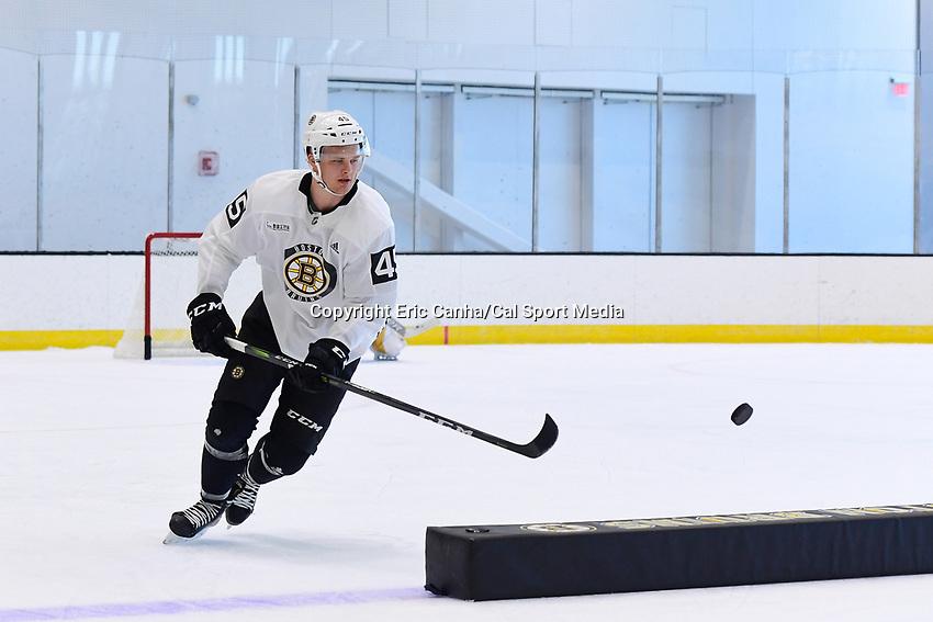 June 26, 2018: Boston Bruins forward Joona Koppanen (45) skates during the Boston Bruins development camp held at Warrior Ice Arena in Brighton Mass. Eric Canha/CSM