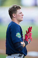 Travis Blankenhorn (7) of the Elizabethton Twins prior to the game against the Pulaski Yankees at Calfee Park on July 25, 2016 in Pulaski, Virginia.  The Twins defeated the Yankees 6-1.  (Brian Westerholt/Four Seam Images)