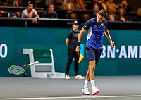 Rotterdam, The Netherlands, 9 Februari 2020, ABNAMRO World Tennis Tournament, Ahoy,  Pilip Krajinovic (SRB) throws his racket to the ground at matchpoint, he won the match and was frustrated<br /> Photo: www.tennisimages.com