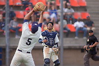 St. John Bosco Braves catcher Kameron Guangorena (27) in the National Classic by Adidas Baseball Game on April 2, 2018 in Fullerton, California. (Donn Parris/Four Seam Images)