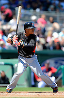 Miami Marlins outfielder Gorkys Hernandez #2 during a Spring Training game against the Boston Red Sox at JetBlue Park on March 27, 2013 in Fort Myers, Florida.  Miami defeated Boston 5-1.  (Mike Janes/Four Seam Images)