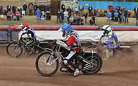Heat 8: Ryan MacDonald (blue), Kelsey Dugard (white) and George Hunter (red)<br /> <br /> Photographer Rob Newell/CameraSport<br /> <br /> National League Speedway - Lakeside Hammers v Eastbourne Eagles - Lee Richardson Memorial Trophy, First Leg - Friday 14th April 2017 - The Arena Essex Raceway - Thurrock, Essex<br /> &copy; CameraSport - 43 Linden Ave. Countesthorpe. Leicester. England. LE8 5PG - Tel: +44 (0) 116 277 4147 - admin@camerasport.com - www.camerasport.com