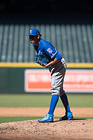 Kansas City Royals relief pitcher Julio Pinto (68) looks to his catcher for the sign during an Instructional League game against the Arizona Diamondbacks at Chase Field on October 14, 2017 in Scottsdale, Arizona. (Zachary Lucy/Four Seam Images)