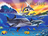 Interlitho, Lorenzo, REALISTIC ANIMALS, paintings, dolphins, ship(KL3950,#A#) realistische Tiere, realista, illustrations, pinturas ,puzzles