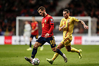 18th November 2019; Wanda Metropolitano Stadium, Madrid, Spain; European Championships 2020 Qualifier, Spain versus Romania;  Jose Luis Gaya (esp)  shields the ball from Stanciu of Romania - Editorial Use