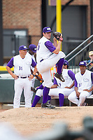 Winston-Salem Dash pitcher Carlos Rodon (26) warms up in the bullpen during the game against the Frederick Keys at BB&T Ballpark on July 30, 2014 in Winston-Salem, North Carolina.  The Dash defeated the Keys 12-2.   (Brian Westerholt/Four Seam Images)