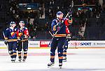 Stockholm 2014-09-05 Ishockey CHL Djurg&aring;rdens IF - Eisb&auml;ren Berlin :  <br /> Djurg&aring;rdens Daniel Fernholm  jublar med publiken efter matchen <br /> (Foto: Kenta J&ouml;nsson) Nyckelord:  Djurg&aring;rden Hockey Hovet CHL Eisb&auml;ren Berlin jubel gl&auml;dje lycka glad happy