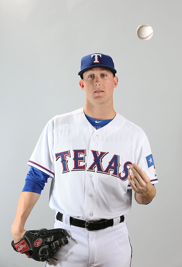 Feb. 20, 2013; Surprise, AZ, USA: Texas Rangers pitcher Jeff Beliveau poses for a portrait during photo day at Surprise Stadium. Mandatory Credit: Mark J. Rebilas-