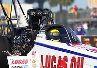 Mar 15, 2015; Gainesville, FL, USA; NHRA top fuel driver Richie Crampton during the Gatornationals at Auto Plus Raceway at Gainesville. Mandatory Credit: Mark J. Rebilas-