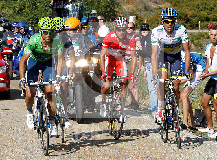 Alberto Contador (w), Joaquin Purito Rodriguez (r), Alejandro Valverde (g) and Nairo Alexander Quintana during the stage of La Vuelta 2012 between Gijon and Valgrande-Pajares (Cuitu Negru).September 3,2012. (ALTERPHOTOS/Paola Otero)
