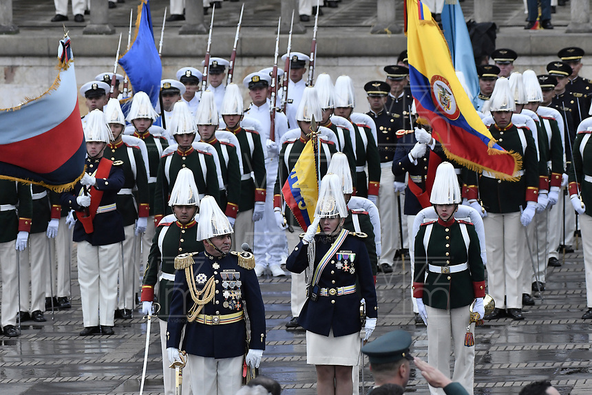 BOGOTÁ - COLOMBIA, 07-08-2018: Miembros de la guadia presidencial son vistos durante la ceremonia de juramento en donde Ivan Duque, toma posesión como presidente de la República de Colombia para el período constitucional 2018 - 22 en la Plaza Bolívar el 7 de agosto de 2018 en Bogotá, Colombia. / Presidential Guard are seen during the swearing ceremony where Ivan Duque, takes office to constitutional term as president of the Republic of Colombia 2018 - 22 at Plaza Bolivar on August 7, 2018 in Bogota, Colombia. Photo: VizzorImage/ Gabriel Aponte / Staff