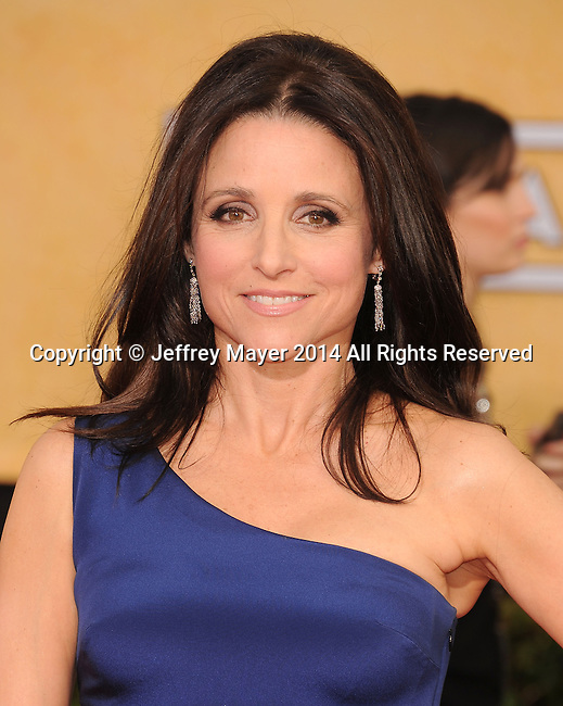 LOS ANGELES, CA- JANUARY 18: Actress Julia Louis-Dreyfus arrives at the 20th Annual Screen Actors Guild Awards at The Shrine Auditorium on January 18, 2014 in Los Angeles, California.