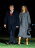 United States President Donald J. Trump and first lady Melania Trump arrive back at the White House in Washington, DC after participating in events marking the 100th Anniversary of the World War I Armistice on Sunday, November 11, 2018.<br /> Credit: Chris Kleponis / Pool via CNP