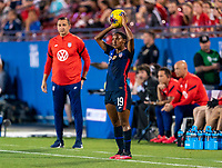 FRISCO, TX - MARCH 11: Crystal Dunn #19 of the United States throws the ball in during a game between Japan and USWNT at Toyota Stadium on March 11, 2020 in Frisco, Texas.
