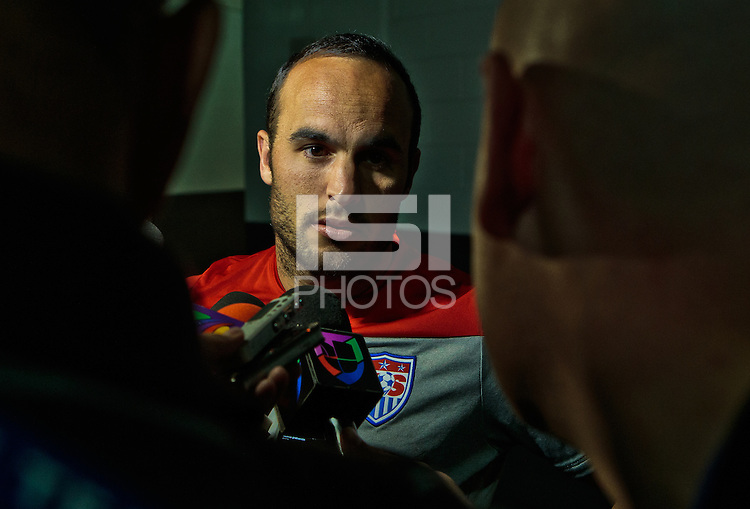 Glendale, AZ. - Tuesday, April 1, 2014: US Men's National team player Landon Donovan in the mix zone after the press conference at University of Phoenix Stadium.