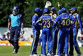 Cricket - ODI Summer Tri-Series - Scotland V Sri Lanka at Grange CC - Edinburgh - Sri Lanka claim their first wicket with the dismissal of Scotland bat Fraser Watts - Picture by Donald MacLeod - 13.07.11 - 07702 319 738 - www.donald-macleod.com
