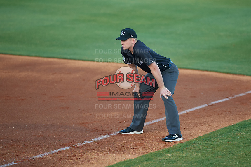 Umpire Matt Winter during a Southern League game between the Jacksonville Jumbo Shrimp and Mobile BayBears on May 7, 2019 at Hank Aaron Stadium in Mobile, Alabama.  Mobile defeated Jacksonville 2-0.  (Mike Janes/Four Seam Images)